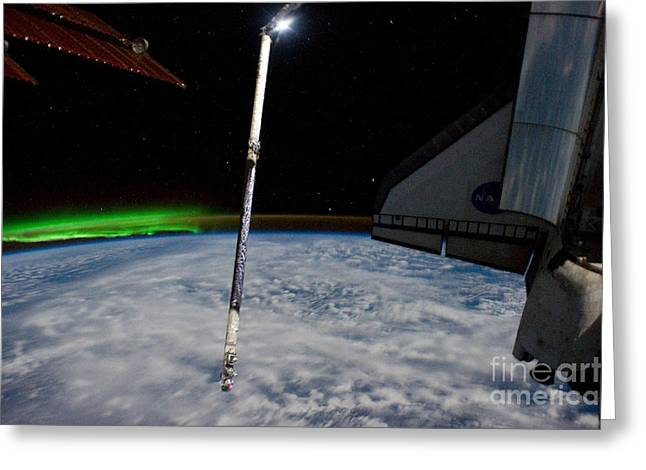 Atlantis Greeting Cards - Aurora Australis From Space Greeting Card by NASA/Science Source