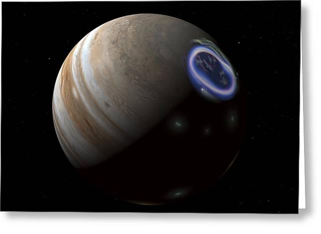 Spheroid Greeting Cards - Aurora On Jupiter, Artwork Greeting Card by Walter Myers