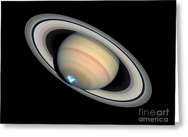 21st Greeting Cards - Aurora On Saturn Greeting Card by NASA / ESA / Space Telescope Science Institute