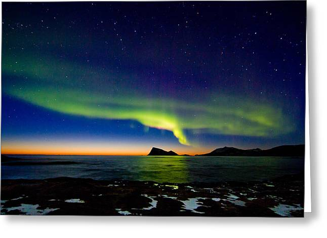 Photographing Aurora Greeting Cards - Aurora over Haja island Greeting Card by Frank Olsen