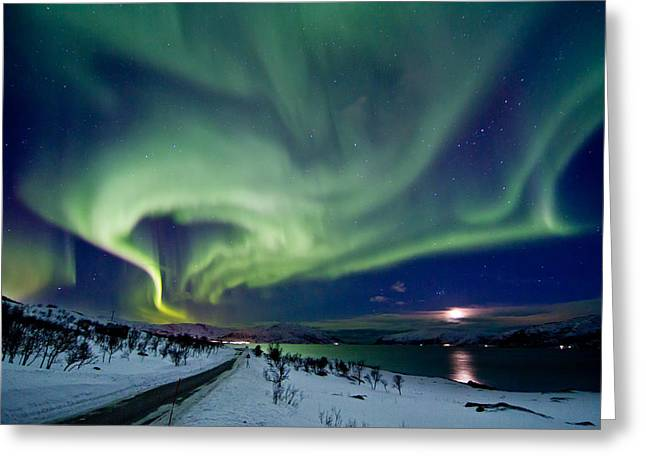 Photographing Aurora Greeting Cards - Aurora over the road Greeting Card by Frank Olsen