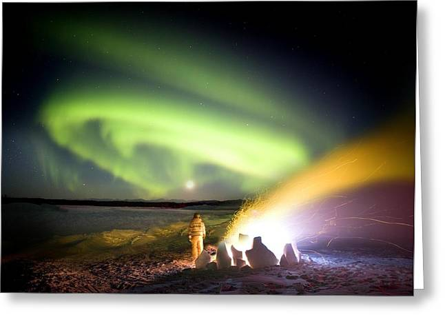 Observer Greeting Cards - Aurora Watching, Time-exposure Image Greeting Card by Chris Madeley