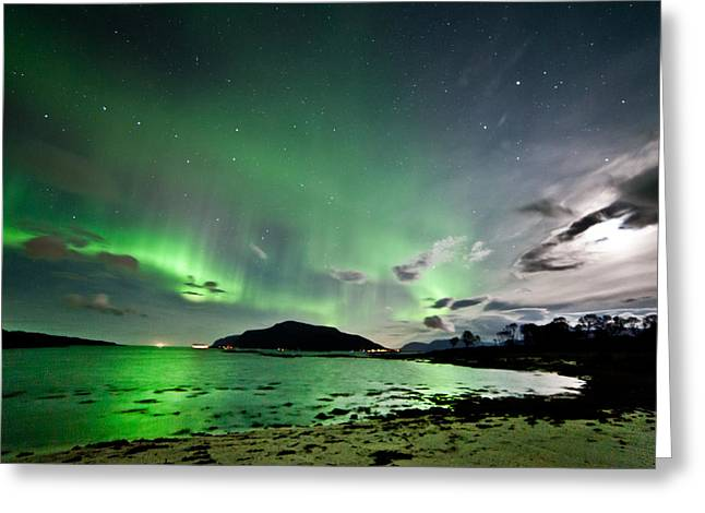 Sortland Greeting Cards - Auroras and moon Greeting Card by Frank Olsen