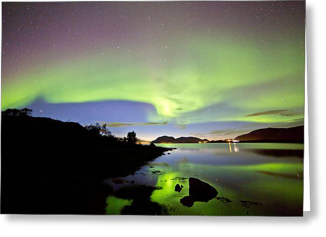 Sortland Greeting Cards - Auroras over the sky Greeting Card by Frank Olsen