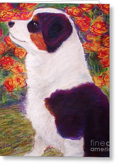 Puppies Pastels Greeting Cards - Aussie Pup Greeting Card by D Renee Wilson