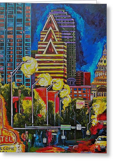 Congress Street Greeting Cards - Austin City Lights Greeting Card by Patti Schermerhorn