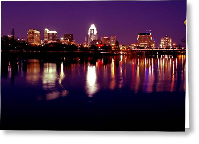 Austin At Night Greeting Cards - Austin Sky Line in December 2004 Greeting Card by Lisa  Spencer