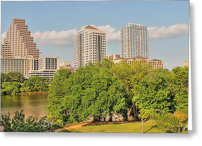 Frost Bank Building Greeting Cards - Austin Texas Architecture Greeting Card by Sarah Broadmeadow-Thomas