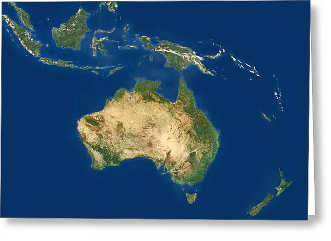 Australia - Australasia Greeting Cards - Australasia And South-eastern Asia Greeting Card by Planetobserver