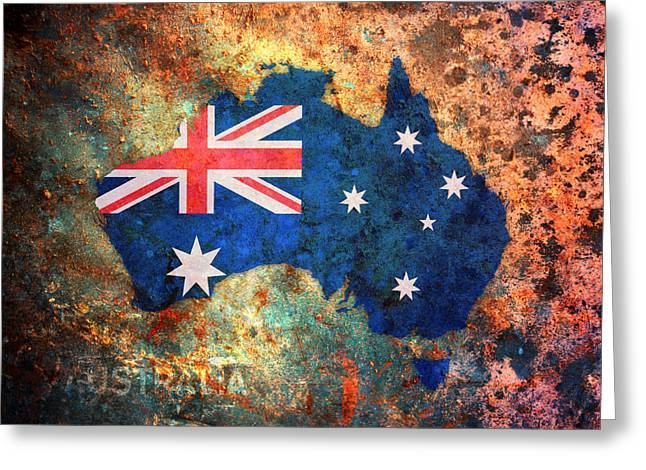 Flags Greeting Cards - Australia Flag Map Greeting Card by Michael Tompsett