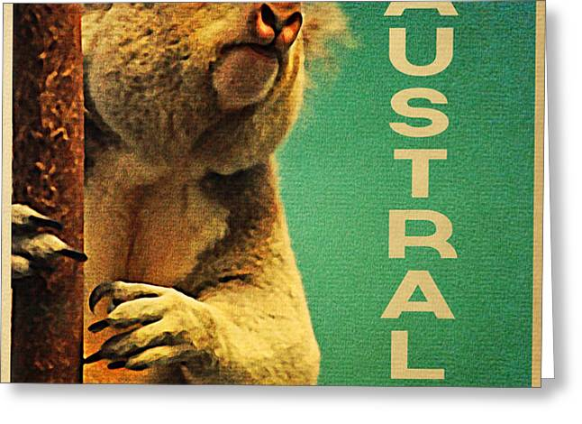 Australia Koala Greeting Card by Flo Karp