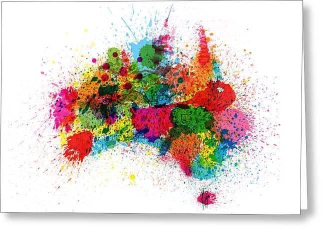Oz Greeting Cards - Australia Paint Splashes Map Greeting Card by Michael Tompsett