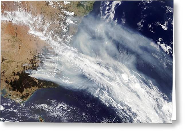 Bushfire Greeting Cards - Australian Bush Fire Smoke Greeting Card by Nasa
