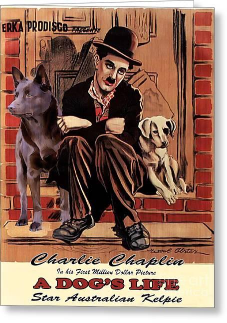 Kelpie Paintings Greeting Cards - Australian Kelpie - A Dogs Life Movie Poster Greeting Card by Sandra Sij