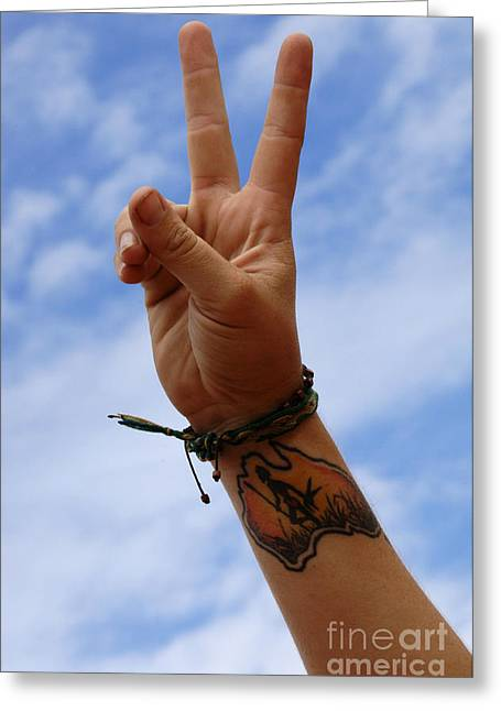 Tatoo Greeting Cards - Australian Sign Language Greeting Card by Bob Christopher