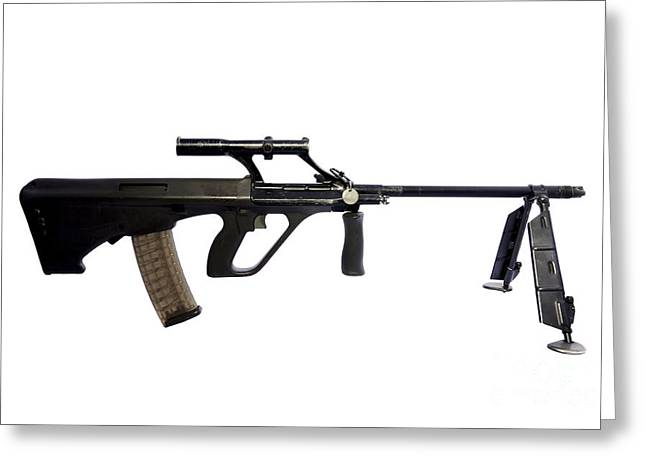Copy Machine Greeting Cards - Austrian 5.56mm Steyr Aug Light Support Greeting Card by Andrew Chittock