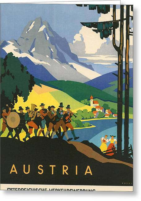 Sun Peaks Resort Greeting Cards - Austrian Alps Greeting Card by Nomad Art And  Design