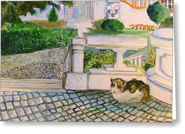Stepping Stones Drawings Greeting Cards - Austrian Cat Greeting Card by Mindy Newman
