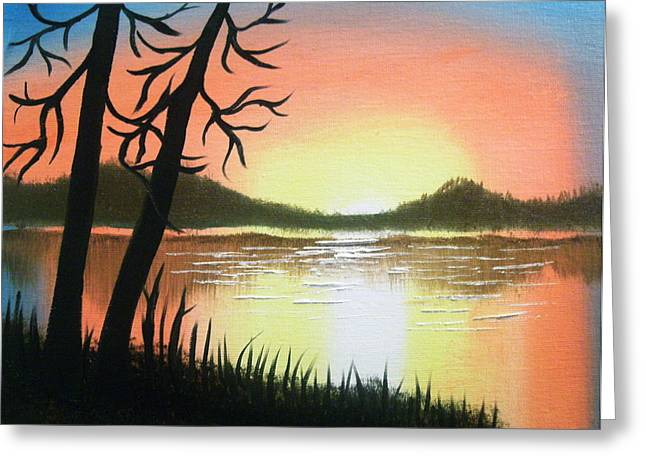 Instructions Paintings Greeting Cards - Autmn Lake Greeting Card by Manfred Schaefer