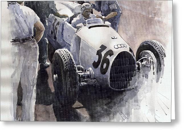 Auto Union B type 1935 Italian GP Monza B Rosermeyer Greeting Card by Yuriy  Shevchuk