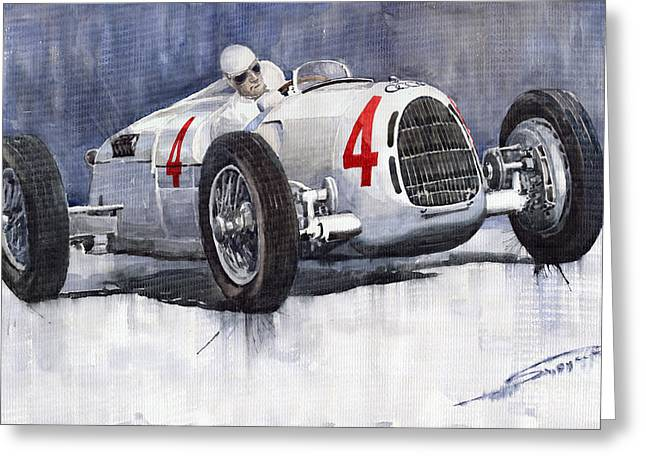 Autos Greeting Cards - Auto Union C Type 1937 Monaco GP Hans Stuck Greeting Card by Yuriy  Shevchuk