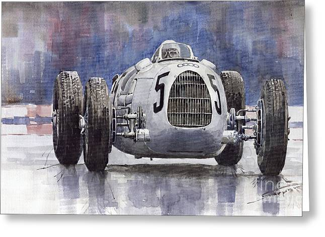 Classic Sports Cars Greeting Cards - Auto-Union Type C 1936 Greeting Card by Yuriy  Shevchuk
