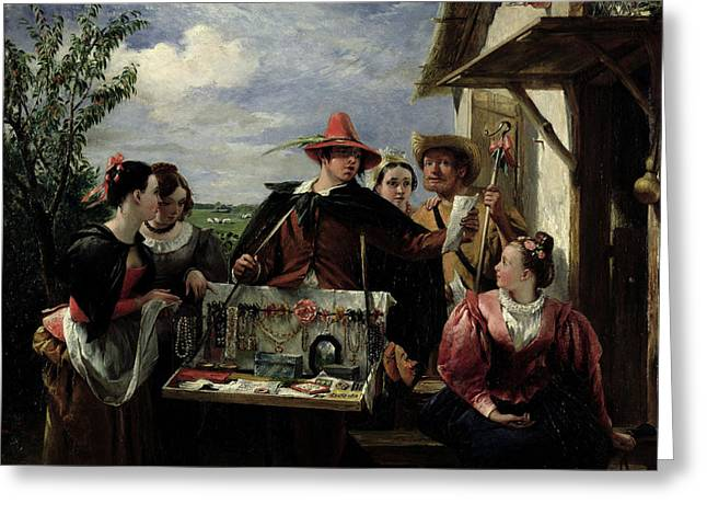 Talking Greeting Cards - Autolycus scene from A Winters Tale Greeting Card by  Robert Leslie