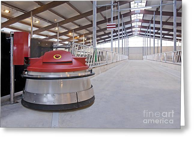 Cowshed Greeting Cards - Automated Feed Pusher Greeting Card by Jaak Nilson