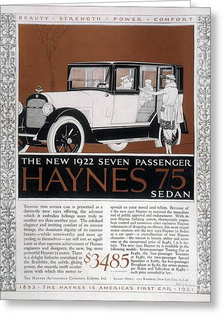 American Automobiles Greeting Cards - Automobile Ad, 1921 Greeting Card by Granger