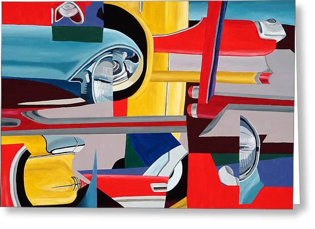 Headlight Paintings Greeting Cards - Autopia Circa 1957 Greeting Card by Randall Weidner