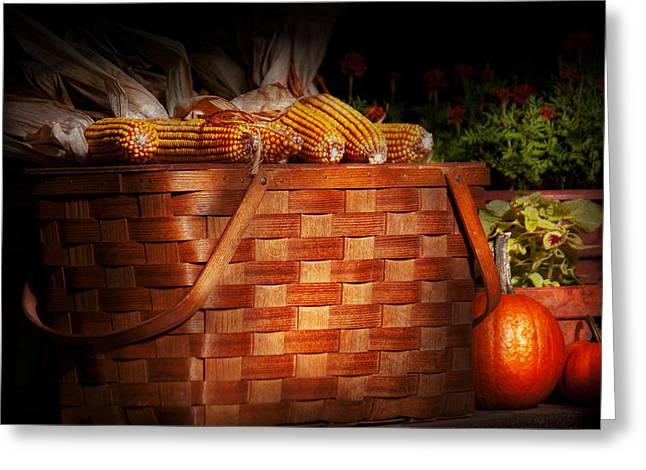 Autumn - Gourd - Fresh Corn Greeting Card by Mike Savad