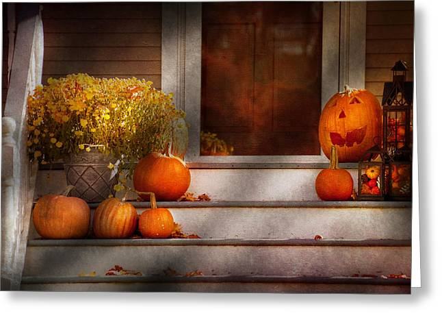 Autumn - Halloween - We're all happy to see you Greeting Card by Mike Savad