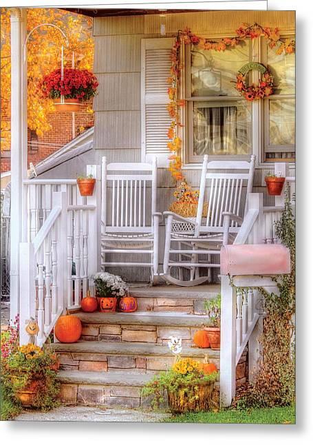 White Pumpkin Greeting Cards - Autumn - House - My Aunts porch Greeting Card by Mike Savad