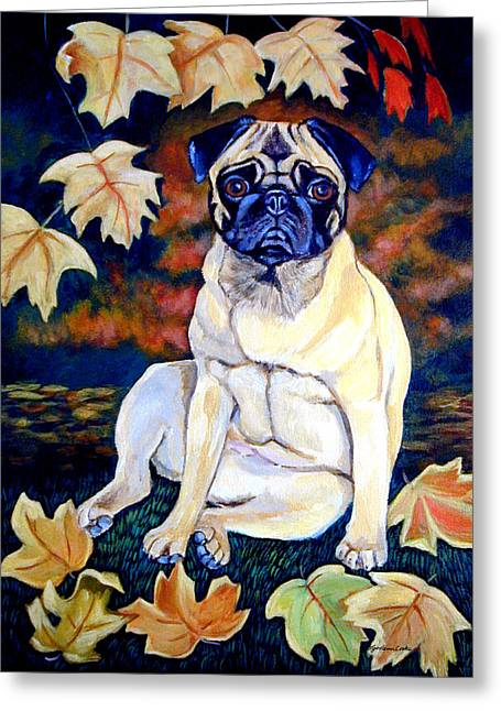 Pugs Greeting Cards - Autumn - Pug Greeting Card by Lyn Cook