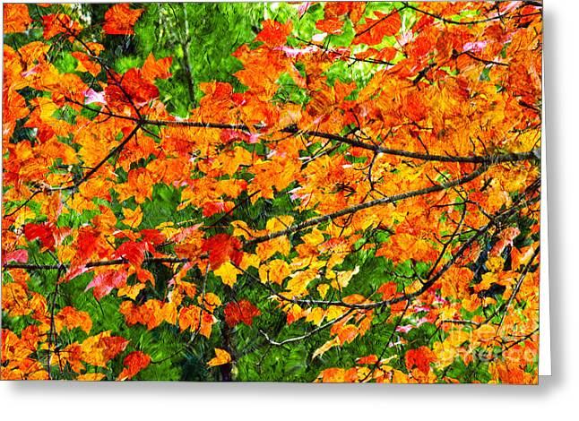Green Foliage Mixed Media Greeting Cards - Autumn Abstract Painterly Greeting Card by Andee Design