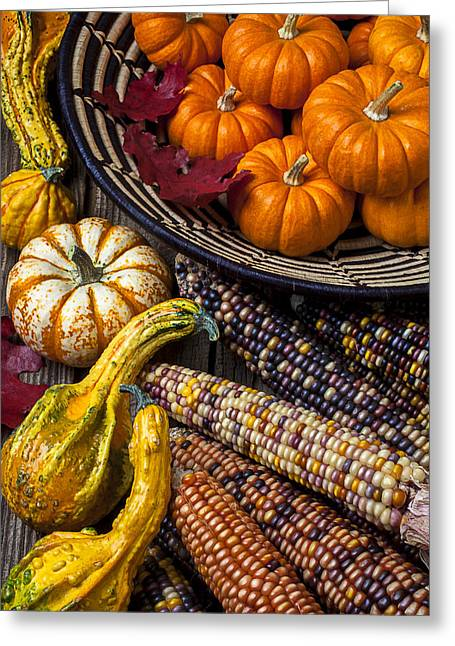 Gourds Greeting Cards - Autumn abundance Greeting Card by Garry Gay