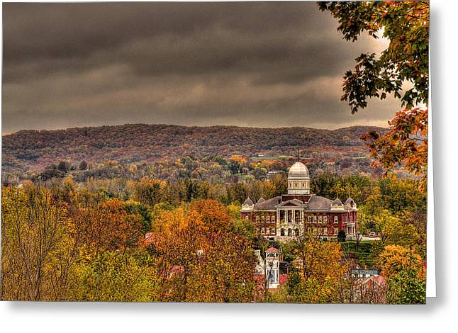 The Hills Greeting Cards - Autumn Around the Courthouse Greeting Card by William Fields