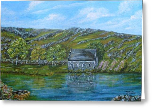 Gougane Barra Church Greeting Cards - Autumn at Gougane Barra Greeting Card by Marion Scanlon