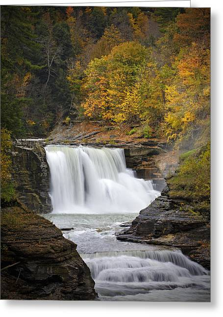 """sunset Photographs"" Greeting Cards - Autumn at the Lower Falls Greeting Card by Rick Berk"