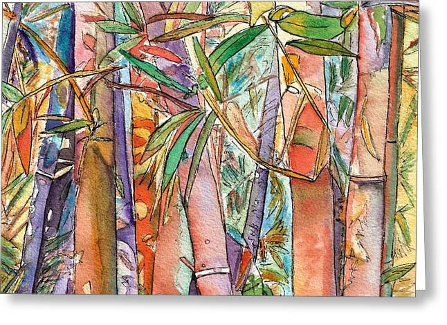 Autumn Bamboo Greeting Card by Marionette Taboniar