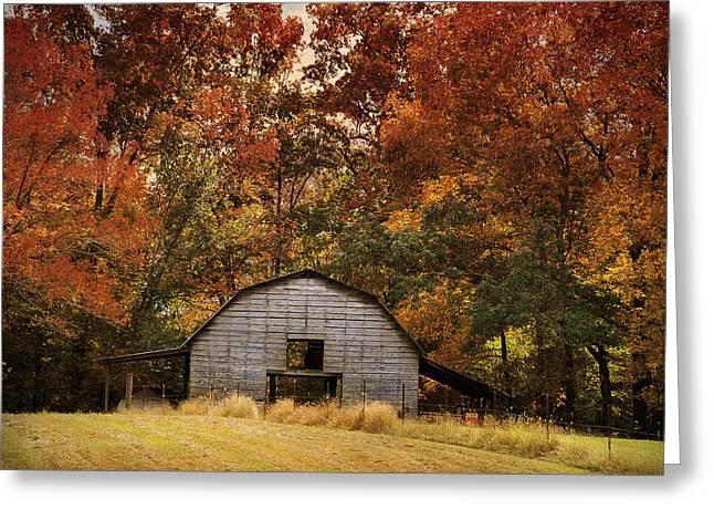 Barn Landscape Photographs Greeting Cards - Autumn Barn Greeting Card by Jai Johnson