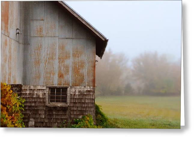 Autumn Barn Greeting Card by Jill Battaglia