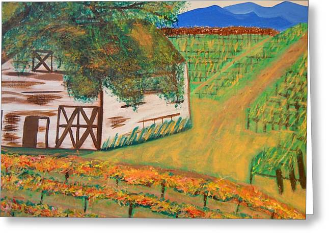 Pastoral Vineyards Paintings Greeting Cards - Autumn Barn Greeting Card by Kathleen Fitzpatrick