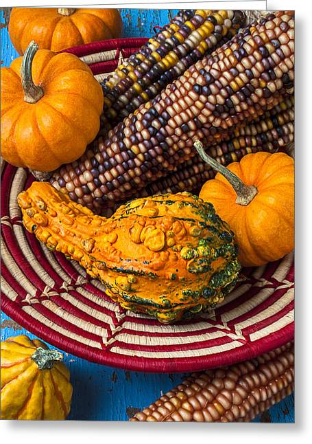 Gourd Greeting Cards - Autumn basket  Greeting Card by Garry Gay
