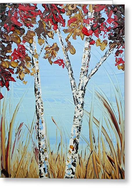 Artist Christine Krainock Greeting Cards - Autumn Birch Greeting Card by Christine Krainock