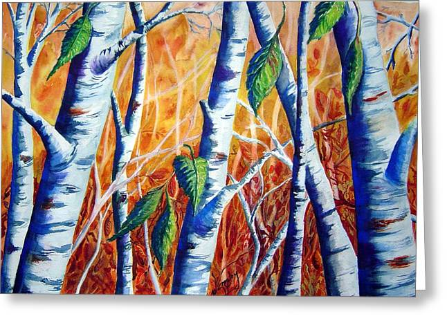 Birch Tree Greeting Cards - Autumn Birch Greeting Card by Joanne Smoley