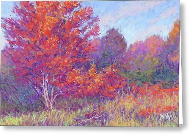 Violet Blue Pastels Greeting Cards - Autumn Blaze Greeting Card by Michael Camp