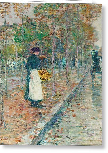 Apron Greeting Cards - Autumn Boulevard in Paris Greeting Card by Childe Hassam
