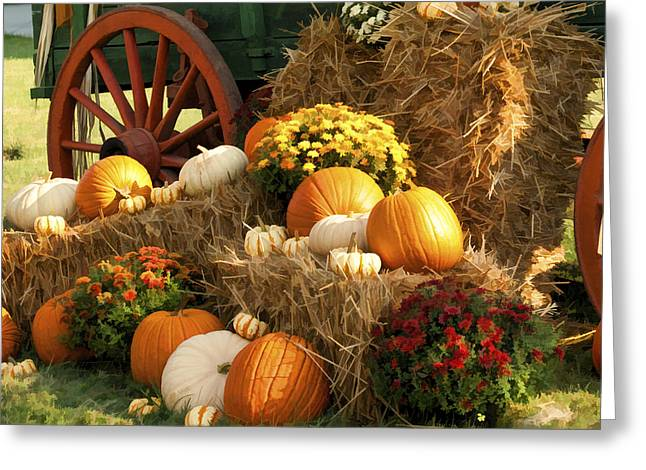 Locally Grown Digital Art Greeting Cards - Autumn Bounty Greeting Card by Kathy Clark