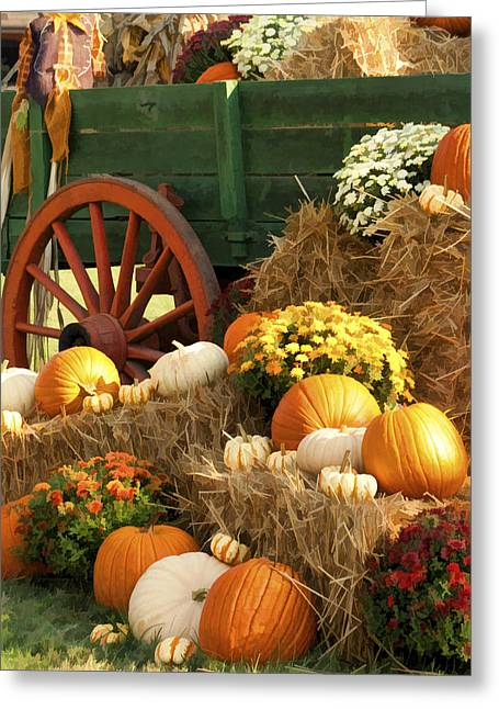 Harvestime Greeting Cards - Autumn Bounty Vertical Greeting Card by Kathy Clark